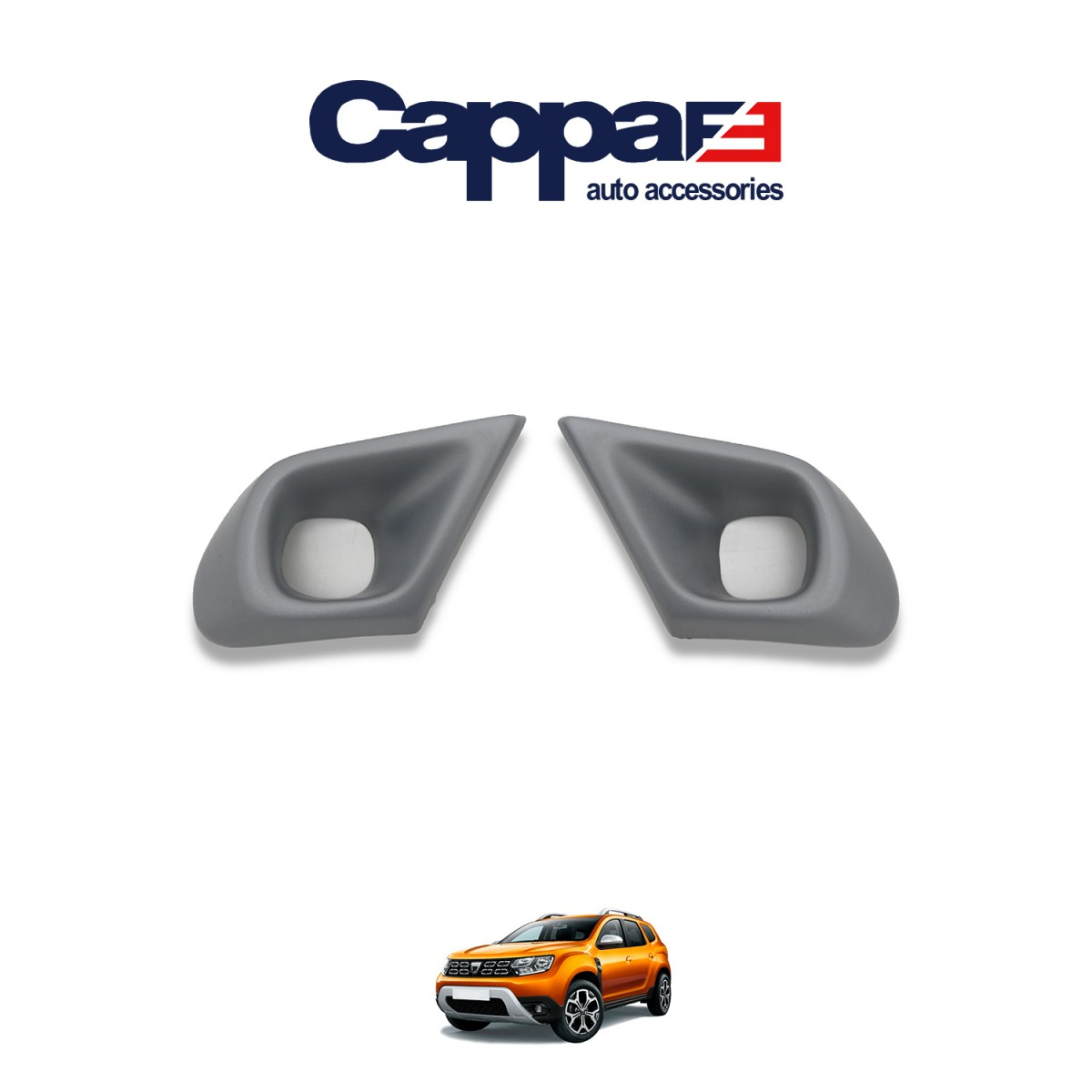 CAPPAFE Dacia Duster Sis Farı Çerçevesi Gri 2018 ->
